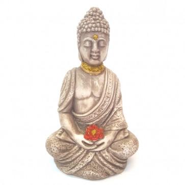 Budha sentado con flor