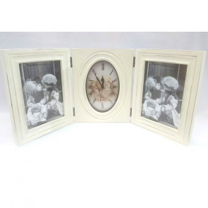 Tríptico vintage de dos marcos con reloj central