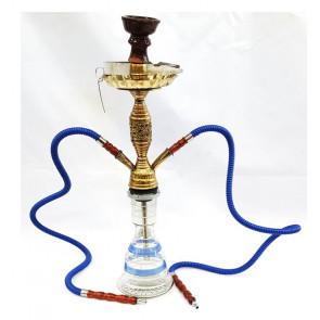 Shisha marroquí transparente y azul 2 bocas