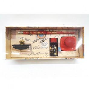 Plumilla, tintero de cerámica, 2 plumines, tinta y blotter (secante)