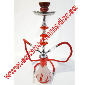 Shisha roja 2 bocas 55 cm
