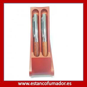 Juego pluma y bolígrafo en madera marrón