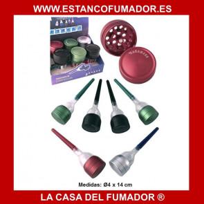 GRINDER ALUMINIO + ENROLLADOR DE PAPEL/CONO COLORES SURTIDO