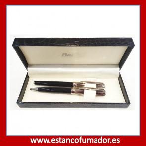Juego bolígrafo y pluma cromado y negro