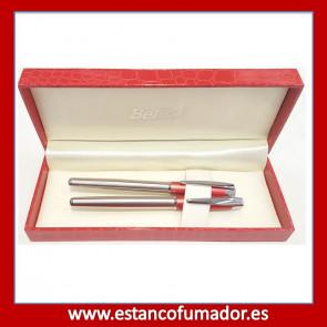 Juego bolígrafo y pluma cromado y lacado rojo