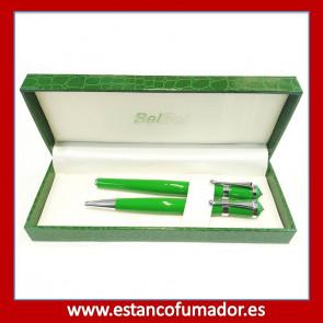 Juego bolígrafo y pluma lacado verde