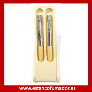 Juego pluma y bolígrafo en madera Beige