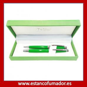 Juego de escritura, pluma y bolígrafo cromado y lacado en verde