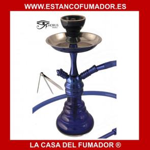 Shisha «HORUS» azul con cuerpo de aluminio y 1 boquilla 36CM