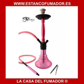Shisha «HORUS» de aluminio color rosa, con 1 boquilla de silicona. 61 CM
