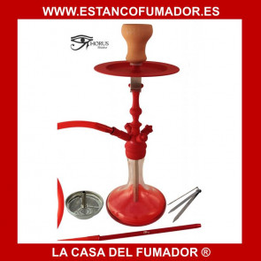 Shisha «HORUS» roja con 1 boquilla de silicona 51 CM