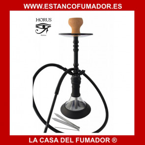 Shisha «HORUS» negra con vaso de cristal y 1 boquilla de silicona y aluminio 56 CM