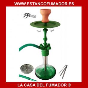Shisha «HORUS» cristal verde con 1 boquilla de silicona 51CM