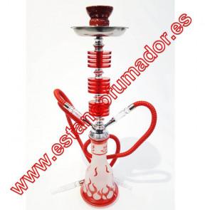 Shisha roja 2 bocas 55 cm Llamas